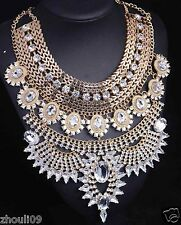 vintage huge woman Statement pandent crystal chunky chain charm necklace 1166