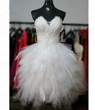 New Sexy Tea-Length Ball Gown Feather Beaded Bridal Wedding dress Size 2-26