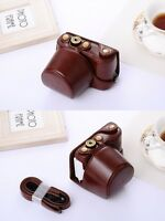 (COFFEE) Camera Hard Leather Compact Case Bag For Sony A5000 A5100 3NL + Strap