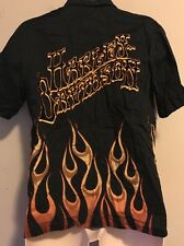Harley Davidson Men's Size Small Button Front Black Shirt Flames Motorcycle