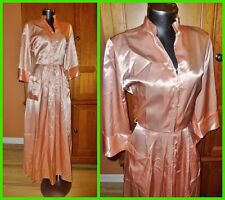 Vtg 40s 50s Pink SATIN OLD HOLLYWOOD Bridal Negligee MAXI Lounge DRESS ROBE
