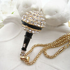 Gold Plated Crystal Music 3D Microphone Charm Pendant Chain Sweater Necklace