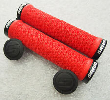 SRAM Locking Handlebar Grips, RED with Double Black Clamps and End plugs