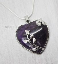 925 Silver Necklace with Natural Amethyst Floral Heart Pendant Reiki Healing