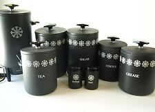 8 Pc Vintage Miracle Maid Gray Black Mid Century Modern Canister Set Percolator