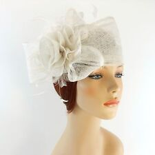 New Woman Church Derby Wedding Sinamay Pillbox Dress Hat SDL-009 White