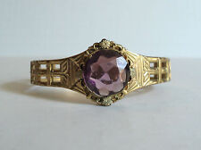UNUSUAL VINTAGE ROLLED GOLD OPEN LINK BANGLE BRACELET with AMETHYST GLASS STONE