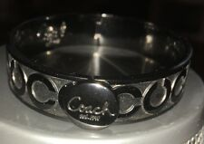 Genuine Coach Gunmetal Black OP Art Hinge Bangle