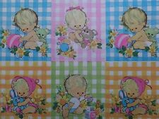 Vintage GENDER NEUTRAL Gingham Babies Baby Shower Gift Wrap Wrapping Paper