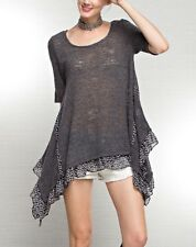 Easel Short Sleeve Gray Sweater Top With Ruffle Bottom In Small