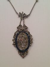 Beautiful Fine Edwardian Sterling Silver & Paste Set Pendant Necklace