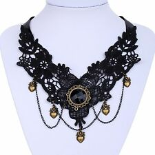 US-Victorian Lolita Black Lace Flower Bronze Heart pendant bib Necklace jewelry