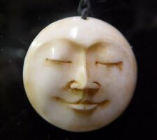 1 pc Hand Carved Natural Water Buffalo Bone Round Moon Face Pendant Amulet 25mm
