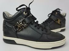 Salvatore Ferragamo Nayon Gancini Black Leather High Top Zip Sneakers Size 8 D