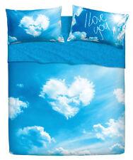 Completo Lenzuola Copriletto Matrimoniale Love Is a Dream Cuore Azzurro Bassetti