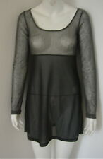 COP COPINE Black & Gray Cotton Blend Mesh Long Sleeve Tunic Blouse 36 S  US