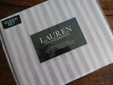 RALPH LAUREN Light GRAY White STRIPE XDP QUEEN SHEET SET 4PC