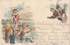 ANTIQUE 1898 CHROMO LITHO BEACH HUMOUR MAN CAMERA FILMING FAT MOTHER DAUGHTERS
