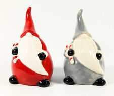 LA PORCELANA zwei Weihnachtsmann-Figuren, rot und grau, Porzellan, 13 cm, schön!