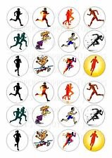 24 RUNNER RUNNERS CAKE TOPPER  ICING EDIBLE FAIRY/CUP CAKE  TOPPERS