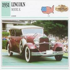 1931 LINCOLN Model K Classic Car Photograph / Information Maxi Card