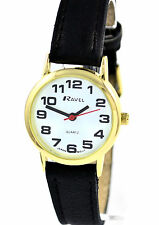 Ravel Womens Bold BIG NUMBERS Ladies Watch With Black Strap