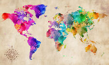 "World Map Modern Abstract Art Watercolour grunge CANVAS PRINT 16""X12"" #2"
