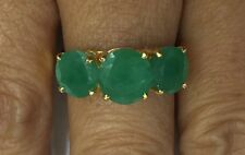 14k Solid Yellow Gold Three Stone Ring with Natural Emerald Size 8
