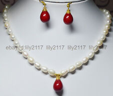 """Charm !7-9mm White Akoya Pearl + Red Shell Pearl Pendant Necklace 18"""" Earrings"""