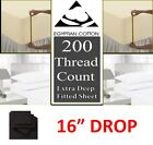 """100% EGYPTIAN COTTON EXTRA DEEP FITTED SHEET 16"""" DROP 40CM 200 THREAD COUNTS"""