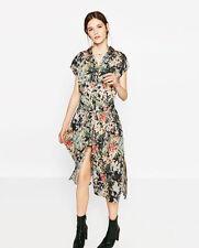 Zara new floral imprimé longue chemise robe tunique taille m uk 10