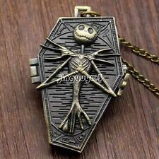 Antique Vintage Bronze Men's Pocket Watch Quartz Pendant Necklace Skull Chain