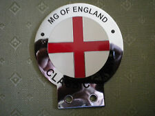 MG OF ENGLAND CHROME & ENAMEL CAR BADGE