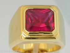 11 X 9 mm July Red Ruby Color CZ Birthstone Men's Solitaire Jewelry Ring Size 14