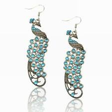 Rhinestone Crystal Peacock Vintage Style Eardrop Dangle Hook Stunning Earrings