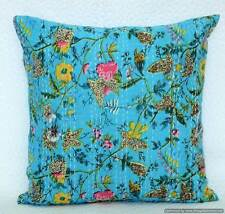 "16"" Indian Cushion Pillow Cover Kantha Throw Floral Pillow Case Ethnic Decor Art"