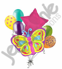 7 pc Bright Butterfly Colorful Balloon Bouquet Decoration Happy Birthday Baby