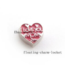 10pcs I love you mom heart   floating charms for memory floating locket FC1311