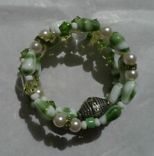 New artisan handmade wrap around bracelet w/ pearls,crystals + French beads