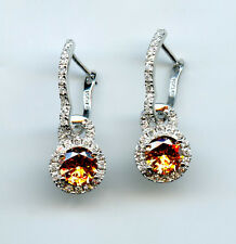 CONVERTIBLE 925 SILVER ROUND CUT CHAMPAGNE & CLEAR CZ HALO LEVERBACK EARRINGS