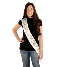 "White & Gold Bride To Be 33"" Satin Party Sash Wedding Bridal Shower Accessory"