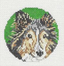 *New* Needle Crossings Collie Dog handpainted Needlepoint Canvas Ornament