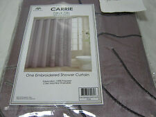 New Victoria Classics CARRIE Embroidered Fabric Shower Curtain 72x72 ~ Plum NIP