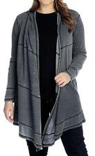NEW - Indigo Thread Co. French Terry Knit  Patchwork Detail Hooded Cardigan - M