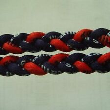 "NEW! BASEBALL Titanium Tornado Sports Necklace 20"" Navy Blue Red Twist 3 ROPE"