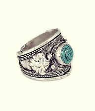 TIBETANO turchese ciondolo ring-vintage SILVER jewellery-amulet NAVAJO Bohemien
