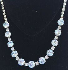 Sparkling Vintage Weiss Necklace~Light Blue Rhinestones/Silver Tone~Signed
