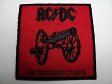 AC/DC FOR THOSE ABOUT TO ROCK  WOVEN PATCH IRON OR SEW
