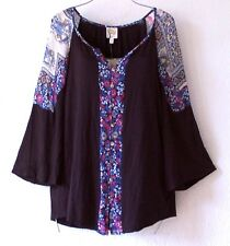 NEW~FIG & FLOWER~Black Red & Blue Peasant Blouse Boho Shirt Top~8/10/M/Medium