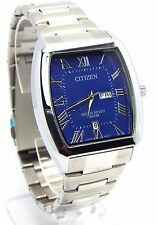 New Citizen Man  Silver-tone, Blue-dial, Day-date-window Dress Watch